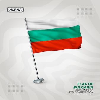 Bulgarische realistische 3d strukturierte flagge für komposition