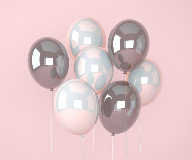 Bunte ballons fliegen für geburtstagsfeiern und feiern. 3d-render für geburtstag, party, banner. 3d-darstellung. Premium PSD