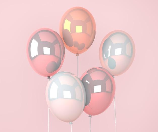 Bunte ballons fliegen für geburtstagsfeiern und feiern. 3d-render für geburtstag, party, banner. 3d-darstellung.