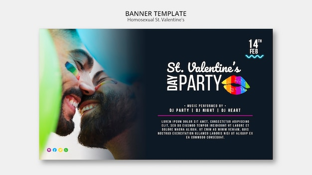Bunte banner für st. lgbt-party zum valentinstag mit foto
