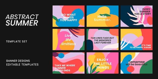 Bunte banner-vorlage psd mit motivationszitat-set