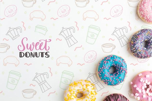 Bunte donuts mischen mit mock-up