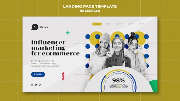 Bunte landingpage-vorlage für influencer