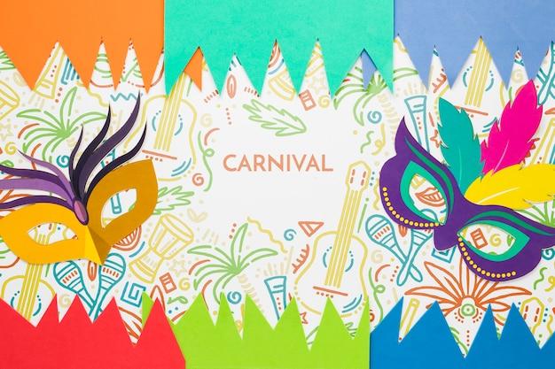 Bunte masken für karneval mit papierausschnitten