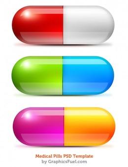 Bunte medizinische pillen psd