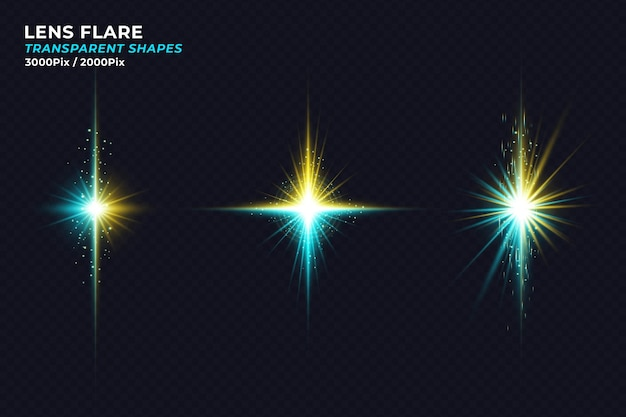 Bunte realistische kräfte crash lens flare licht isoliert