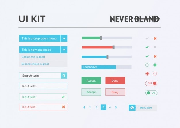 Bunte ui kit mit paginierung links