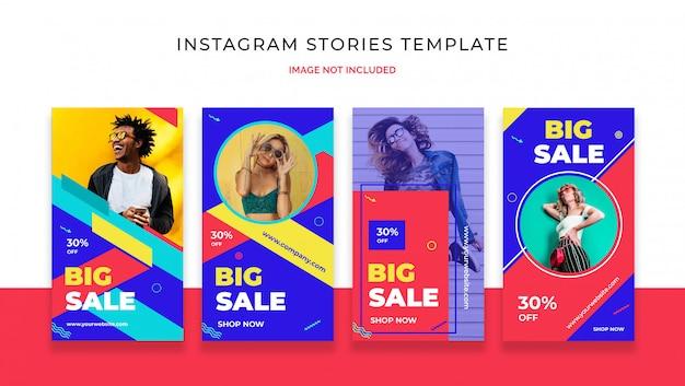 Bunte verkaufsinstagram-geschichtenschablone