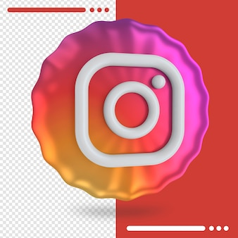 Bunter ballon und logo von instagram 3d rendering Premium PSD