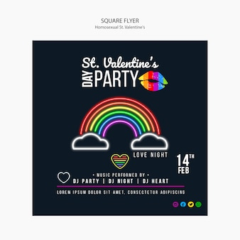 Bunter flyer für st. lgbt-party zum valentinstag