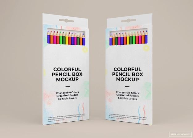 Buntes bleistift-box-mockup-design in 3d-rendering isoliert