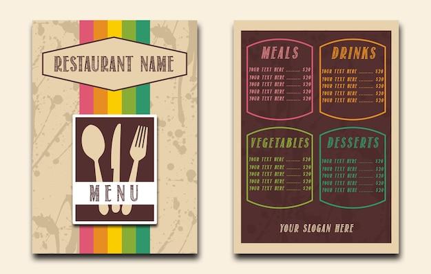 Buntes restaurant-menü weinlese