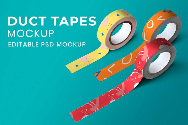 Buntes washi tape mockup psd in süßem abstraktem muster