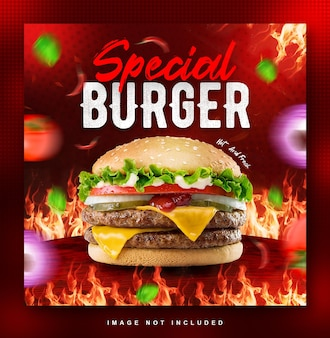 Burger essen menü social media post design-vorlage