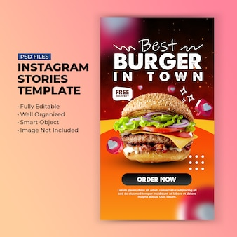 Burger fast food für instagram social media stories promotion
