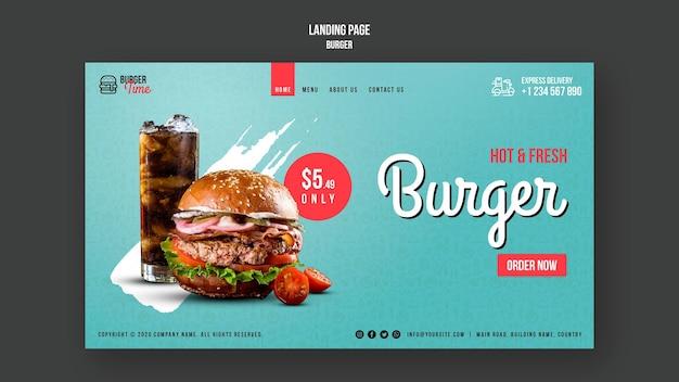 Burger konzept landing page vorlage
