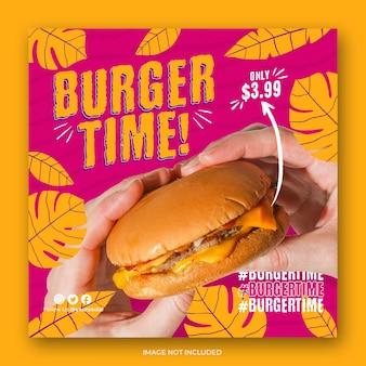 Burger-menü-promotion-social-media-banner-vorlage