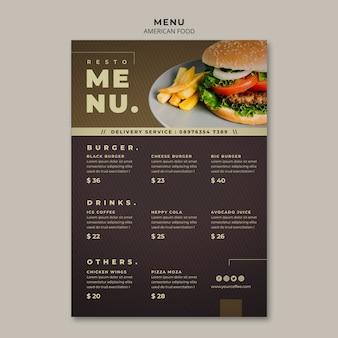 Burger menüvorlage