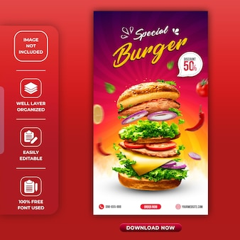 Burger oder restaurant instagram story vorlage