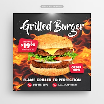 Burger-schnellrestaurant social media post & web banner