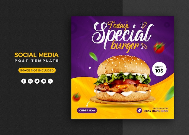Burger social media promotion und instagram banner post design vorlage