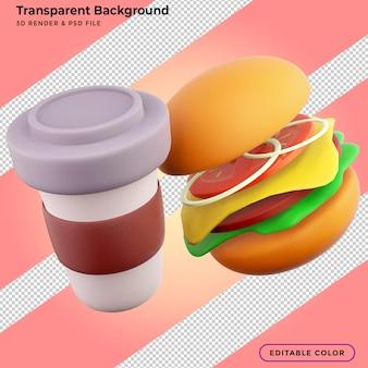 Burger und kaffeetasse 3d-rendering