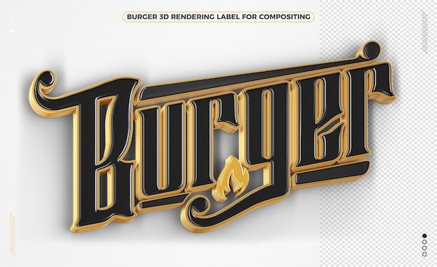 Burger wort schwarz und gold 3d-rendering isoliert