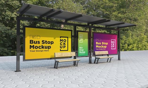 Bushaltestelle bus shelter drei zeichen mockup 3d rendering Premium PSD