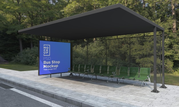 Bushaltestelle bus shelter sign mockup 3d rendering
