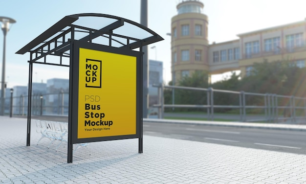 Bushaltestelle bus shelter sign mockup 3d rendering
