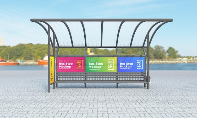 Bushaltestelle bus shelter vier zeichen mockup 3d rendering