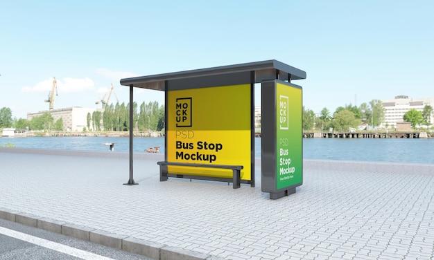 Bushaltestelle bushaltestelle zwei zeichen mockup 3d rendering