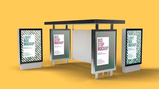 Bushaltestelle und leuchtkasten mockup design isoliert