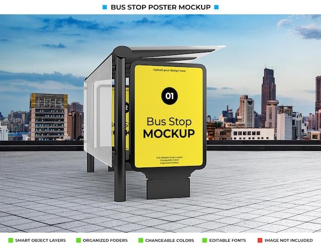 Bushaltestelle werbemodell auf stadtstraße