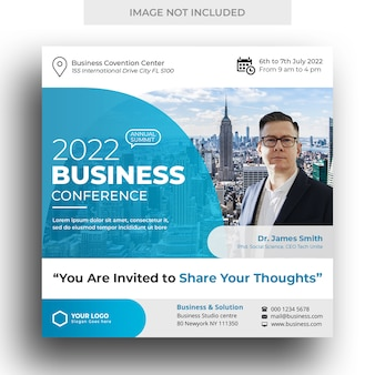 Business conference social media banner und square flyer vorlage
