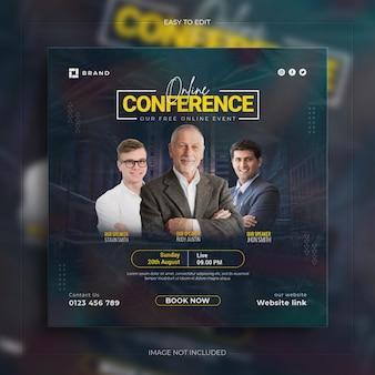 Business conference webinar promotion social media instagram post banner mit sauberem mockup