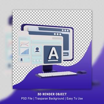 Business design computer poster 3d-rendering