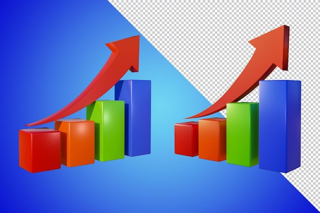 Business graph 3d-rendering isoliert Premium PSD