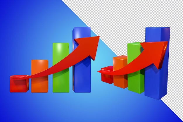 Business graph 3d-rendering isoliert