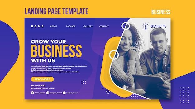 Business landing page vorlage mit foto