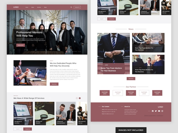 Business mentor website landing page
