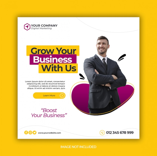 Business promotion und corporate social media banner vorlage oder square flyer