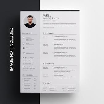Business resume design mit seitenleiste