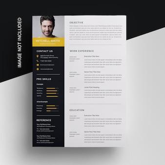 Business resume vorlage mit gelbem akzent