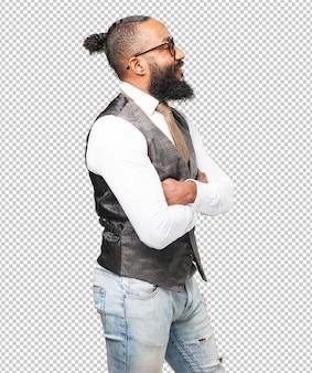 Business schwarzer mann lächelnd