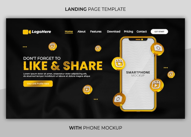 Business-seite mit 3d-render-telefon-mock-up-web-landing-page-vorlage