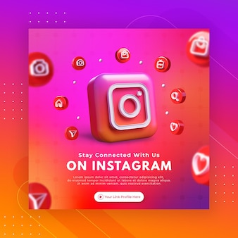 Business-seiten-promotion mit 3d-rendering-instagram für instagram-post-vorlage