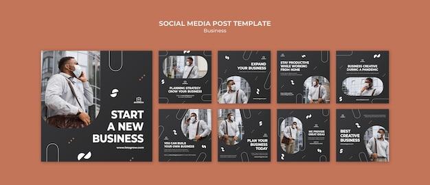 Business social media beiträge mit foto