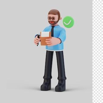 Bussines-mann-charakter, der 3d-rendering überprüft Premium PSD