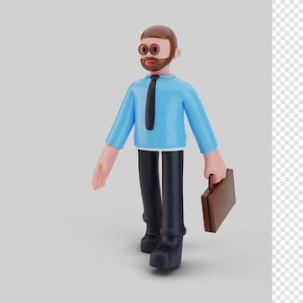 Bussines-mann-charakter zu fuß, 3d-rendering Premium PSD